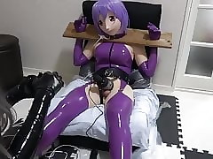 purple latex kigurumi..
