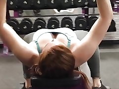 Gym interior downblouse