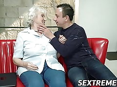 Well-endowed granny fucked near..